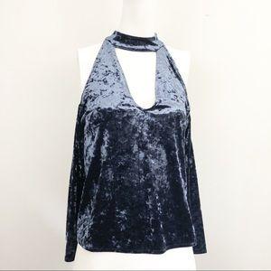 American Eagle Blue Velvet Top - Size XS